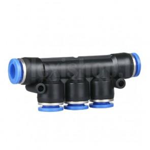 Raccordo rapido dritto a 5 vie tubo/tubo da 10mm