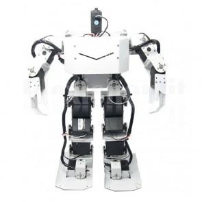 Robot umanoide bianco a 17 gradi di libertà, solo struttura in alluminio in kit di montaggio