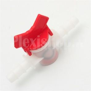Rubinetto per flussi liquidi in materiale plastico, per tubi da 10mm