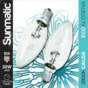 Set 2 Lampadine Alogene E14 30W 405lm dimmer classe C