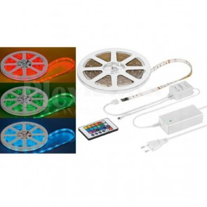 Striscia LED SMD Multicolor RGB con Telecomando 5m IP44