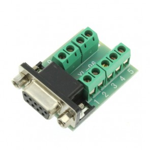 DB9 terminator with screw terminal block, RS232