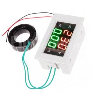 Voltometro e amperometro AC digitale da pannello, 300V / 50A